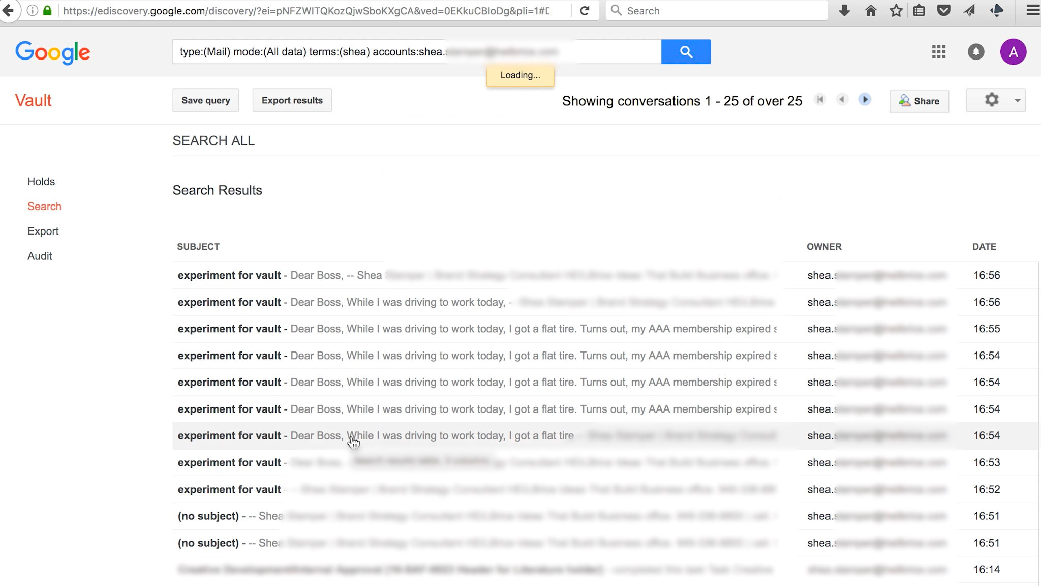 Screenshot of multiple iterations of a draft email within Google Vault.