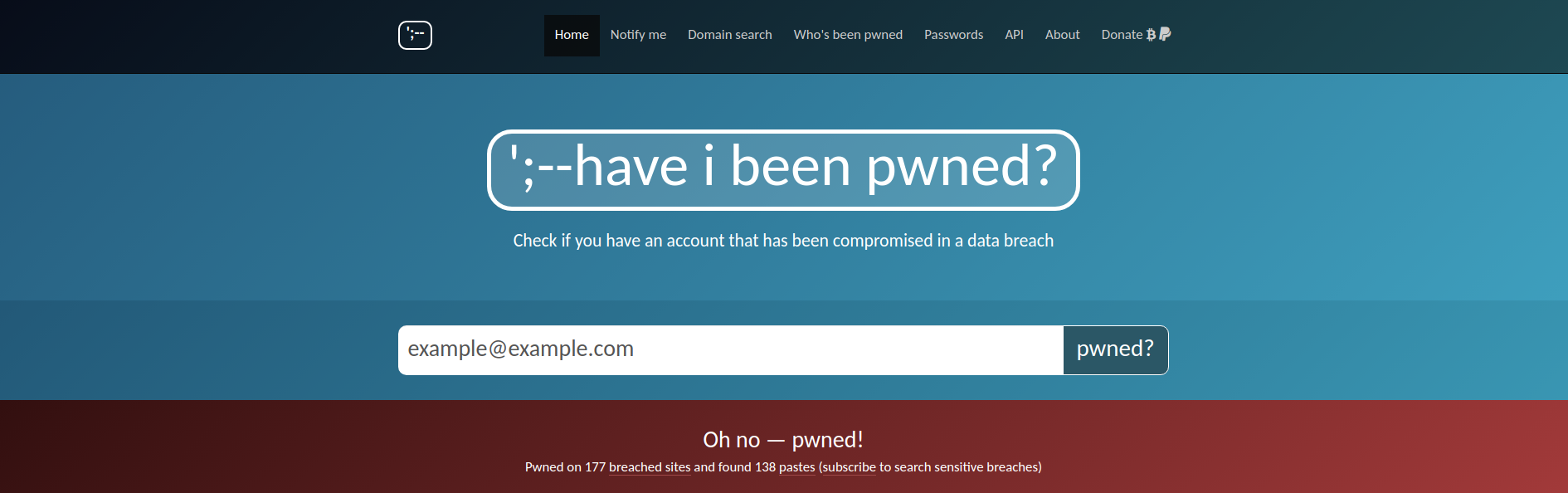 A screenshot of a results page from haveibeenpwned.com