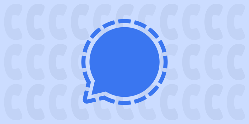 """Header image with a graphic of Signal's """"speech bubble"""" logo, with a pattern of silhouettes of phones in the background."""