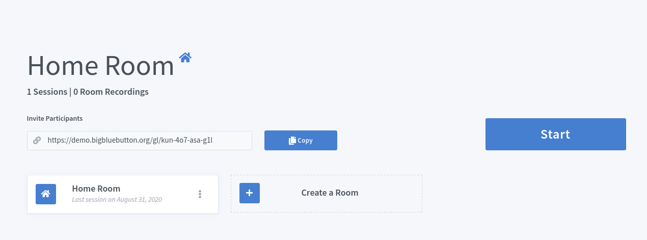 Screenshot of the BigBlueButton interface