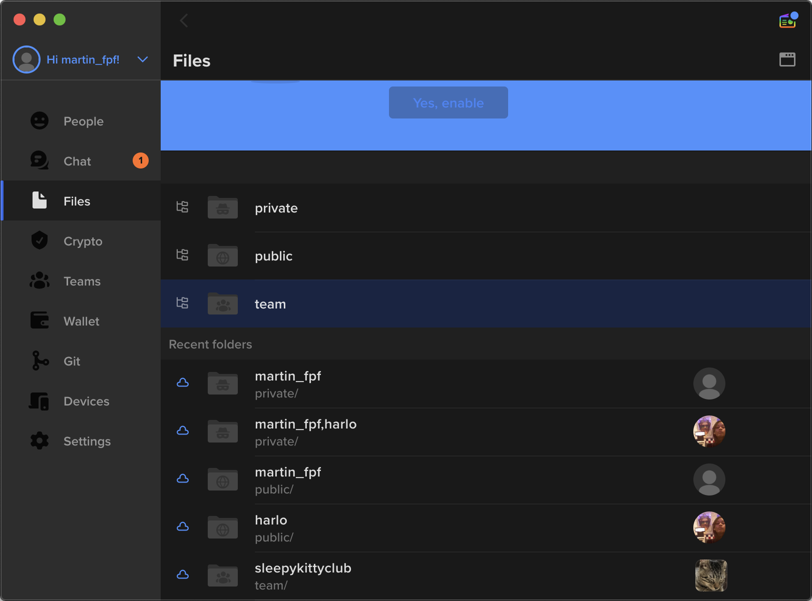 """Screenshot of the """"File"""" tab within Keybase, showing private, public, and team folders, as well as some of the attached folders available."""