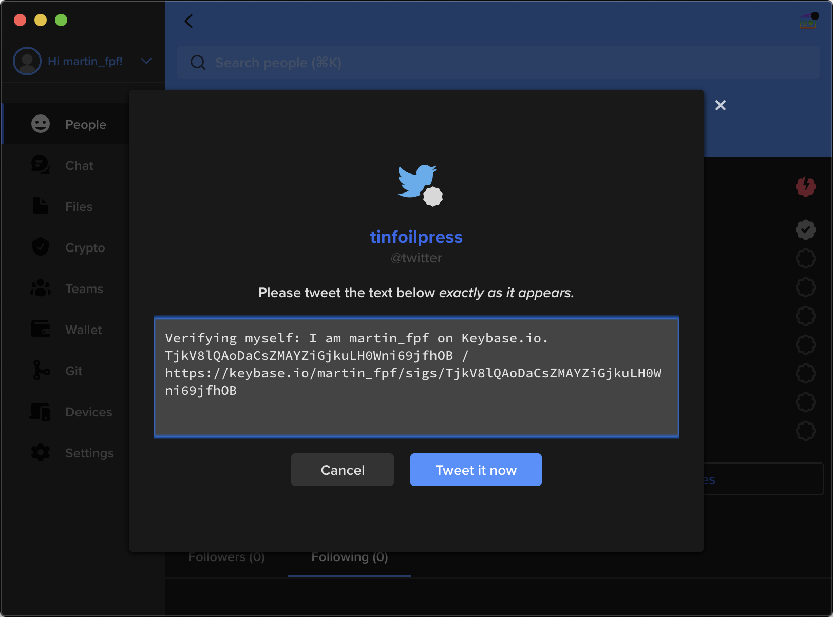 """Screenshot of a Keybase proof, intended to be posted to Twitter. The proof says, """"I am martin_fpf at Keybase.io"""" followed by a random string of characters and a link to the Keybase profile signature, intended for Keybase's systems to identify the user."""