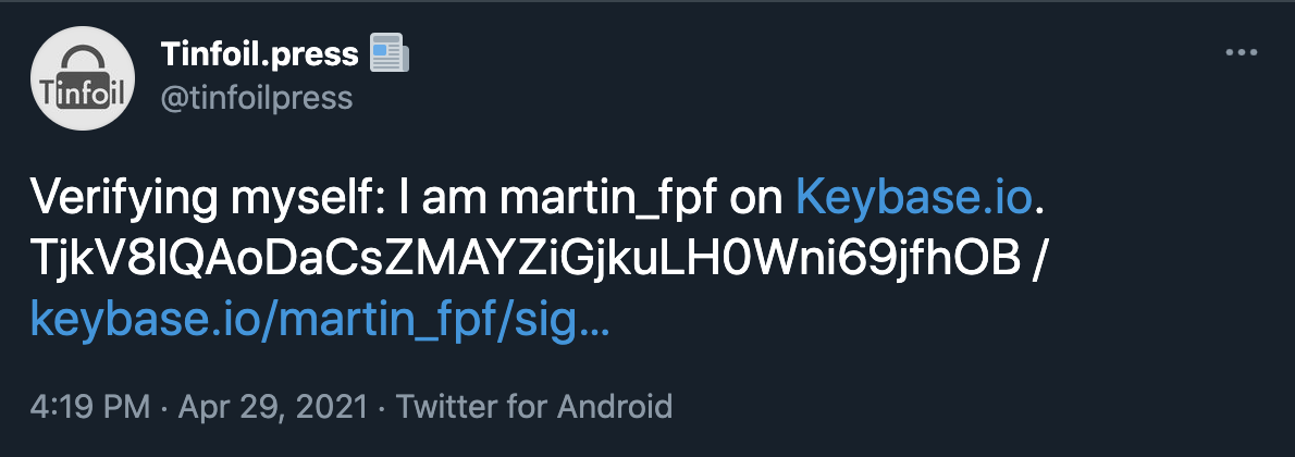 Screenshot of the user (in this case, @martin_fpf) posting the proof tweet on Twitter.