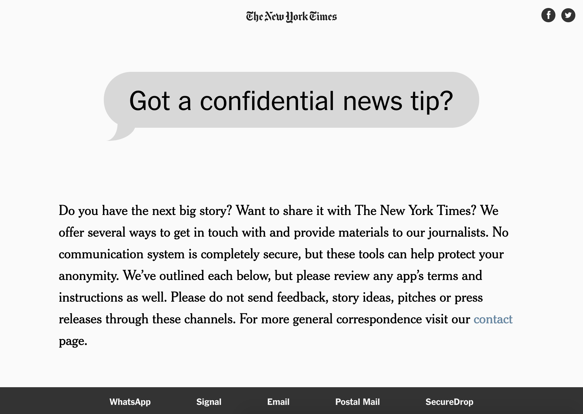 Screenshot from The New York Times' confidential tip page.
