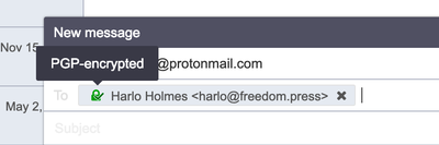 Email address in Compose window indicating that the message is PGP encrypted