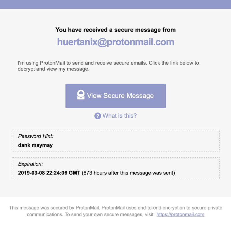 Screenshot of a one-way encrypted ProtonMail message to non-ProtonMail users.
