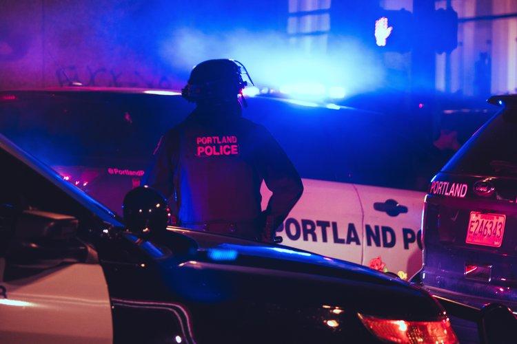 Portland police gather at a Black Lives Matter protest, 2020