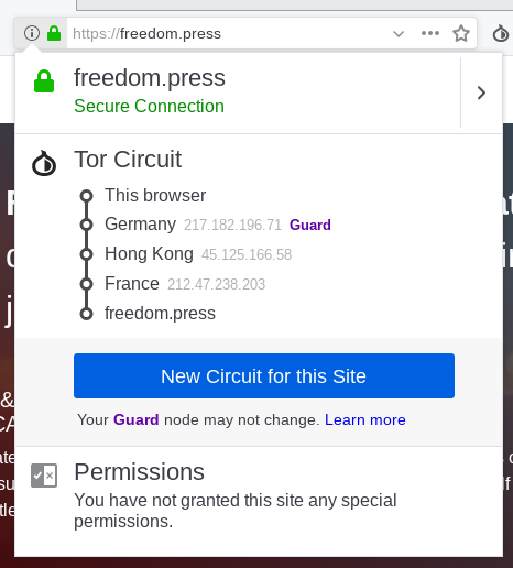 Screenshot of a Tor Browser circuit, showing its connection to freedom.press through multiple random servers around the world — in this case, a server in Germany, Hong Kong, and France, before the connection exits to freedom.press.