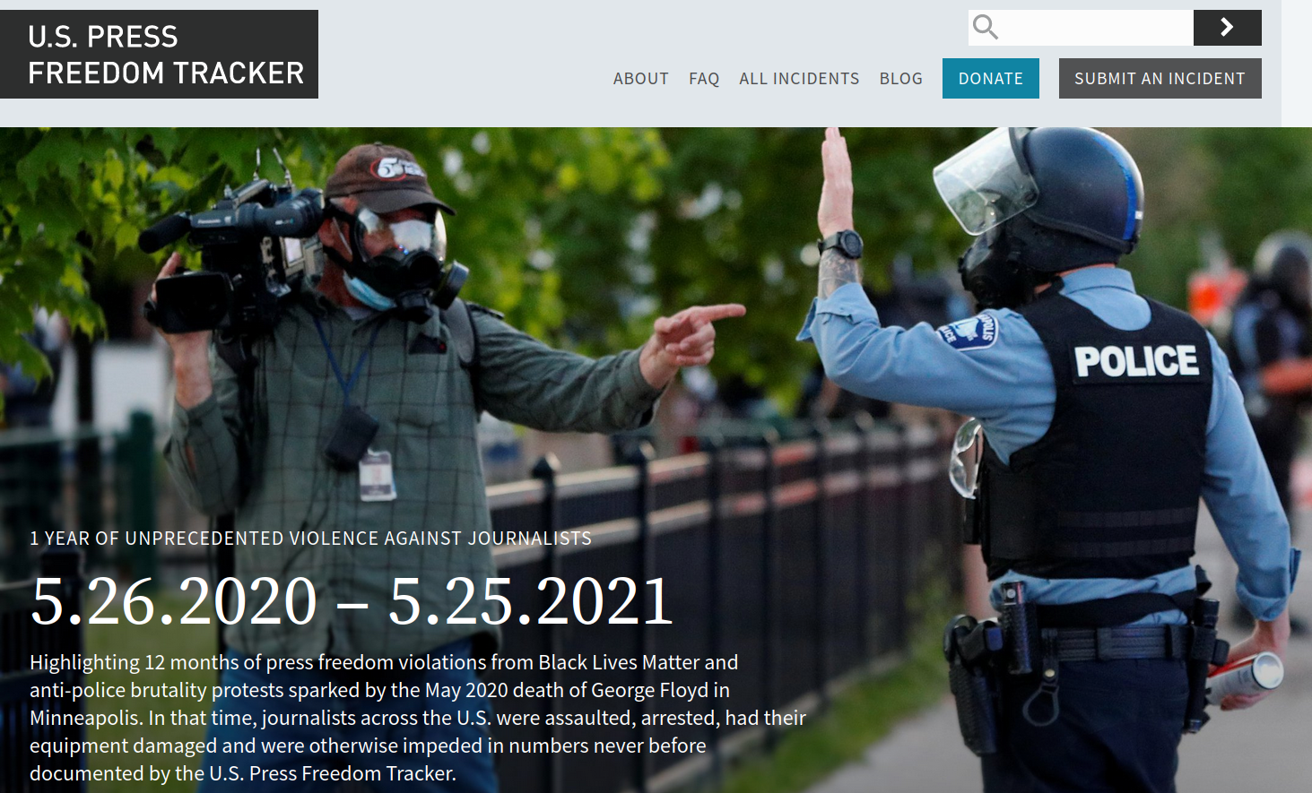 U.S. Press Freedom Tracker topic page: 1 year of BLM protests