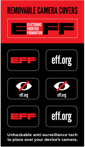 Webcam stickers featuring the Electronic Frontier Foundation's logo in black and red.