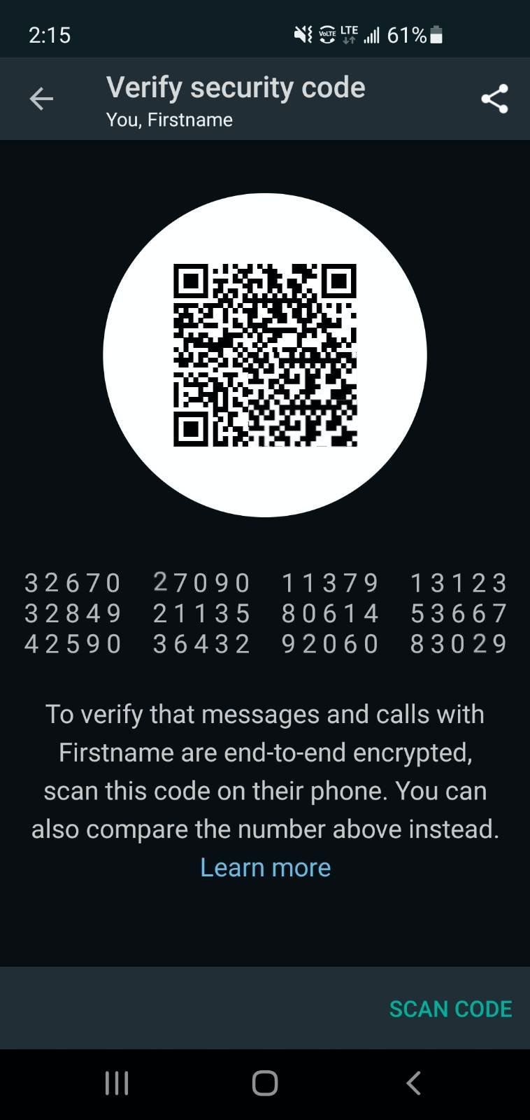 """Screenshot of a """"Vertify security code"""" settings screen, displaying a numeric code and QR code."""
