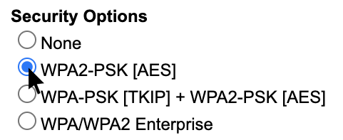 Screenshot showing multiple connection security options for the router, including multiple versions of WPA2.
